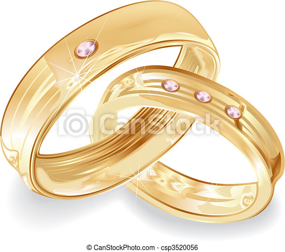 Female and male gold wedding rings vector illustration clip art