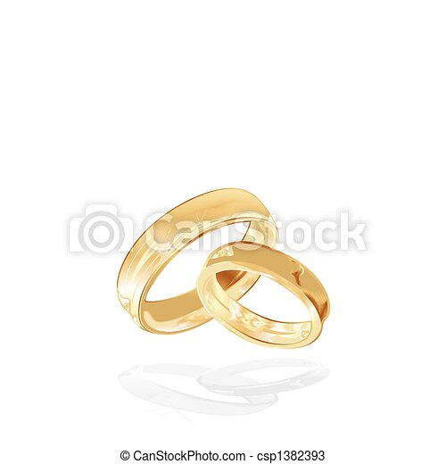 gold wedding rings isolated - csp1382393
