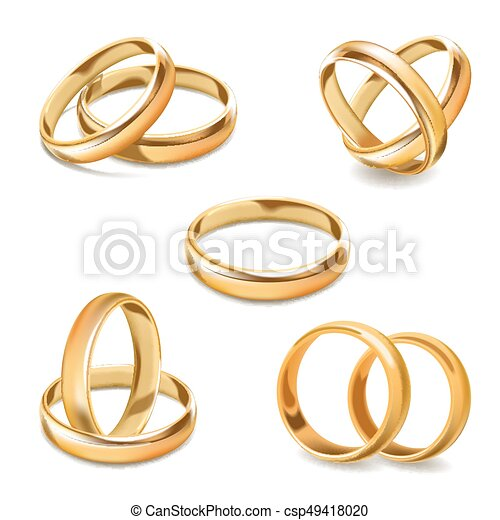 Gold wedding rings pair vector 3d realistic icons set Gold
