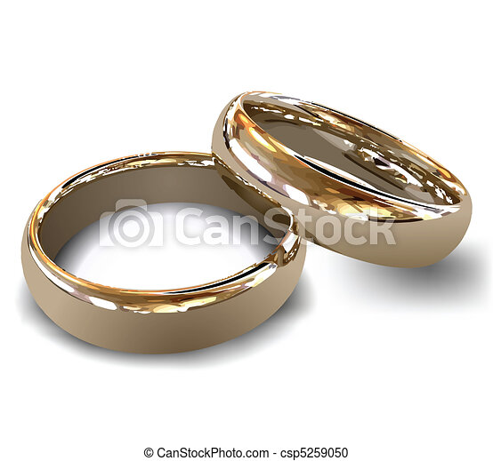 Gold wedding rings vector Female and male gold wedding vector