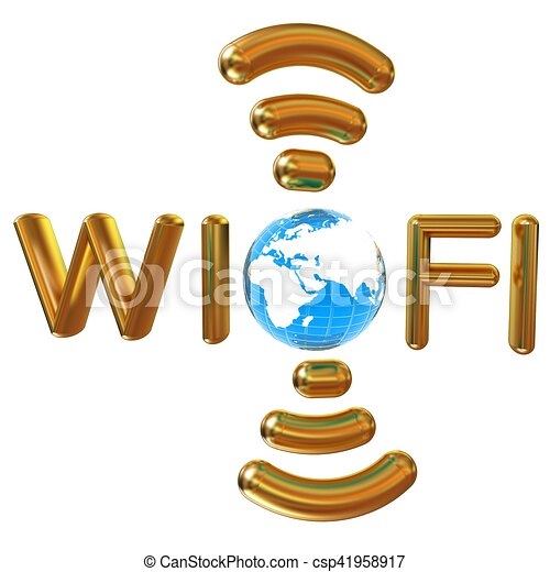 Gold wifi icon for new year holidays. 3d illustration - csp41958917