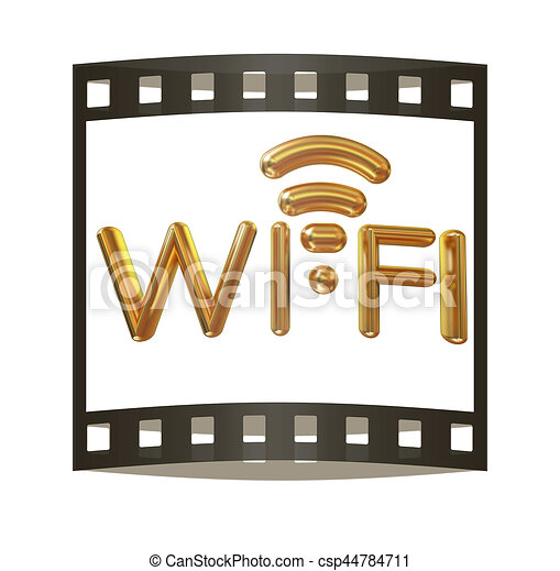 gold wifi icon for new year holidays 3d illustration the film strip