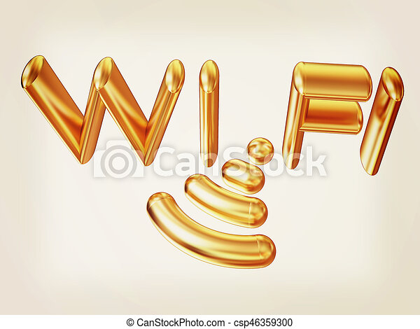 Gold wifi icon for new year holidays. 3d illustration. Vintage style. - csp46359300