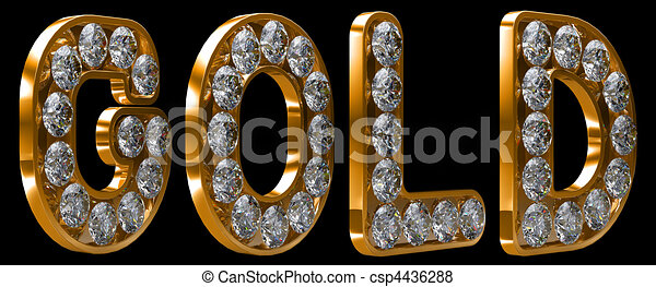 gold word incrusted with diamonds other letters and words are in my