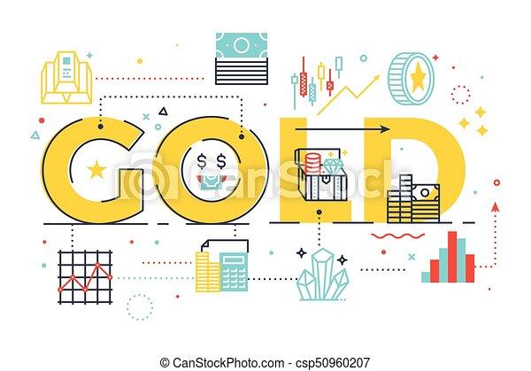 Gold word lettering illustration - csp50960207