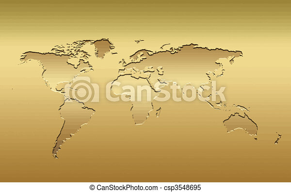 Gold world map a 3d world map in metallic golden tones clipart gold world map csp3548695 gumiabroncs Gallery