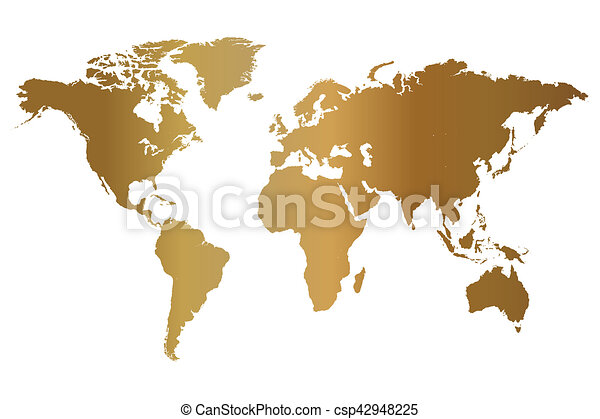 Gold world map illustration isolated on a white background clip art gold world map illustration gumiabroncs Image collections