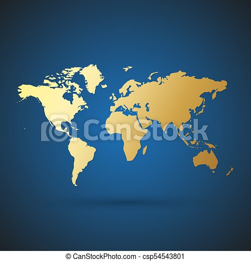 Gold World Map Vector Illustration Gold World Map With Shadow
