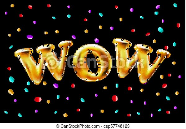 Gold Wow Balloons Background For Web Banners Header Shop Logo