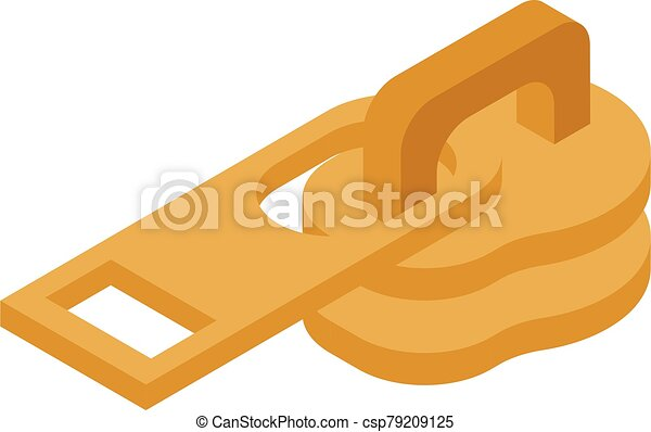 Gold zipper puller icon, isometric style - csp79209125