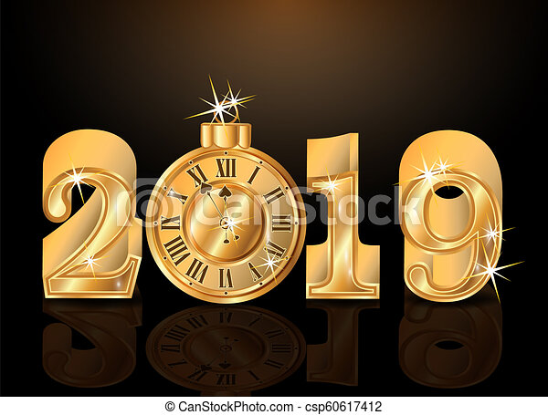 Golden 2019 New Year Invitation Wallpaper Vector Illustration