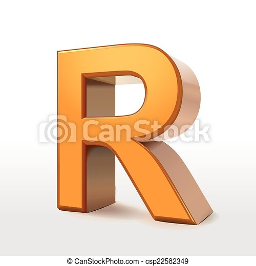 golden 3d alphabet R - csp22582349