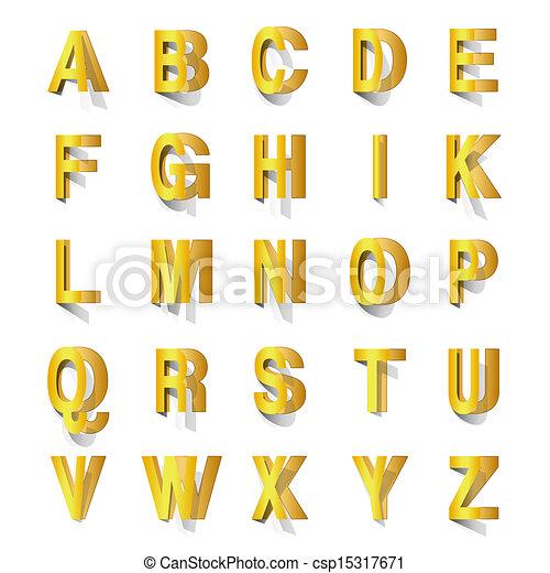 golden abc cut out of paper - csp15317671