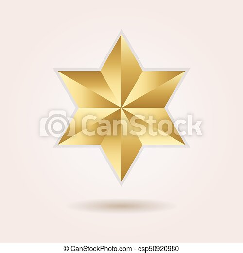 Golden Abstract 3d Six Pointed Star Icon On Pink Gradient Vector