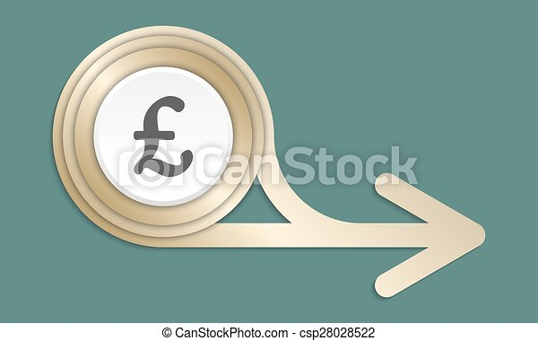 Golden Abstract Arrow And The Symbol Of Pound Sterling