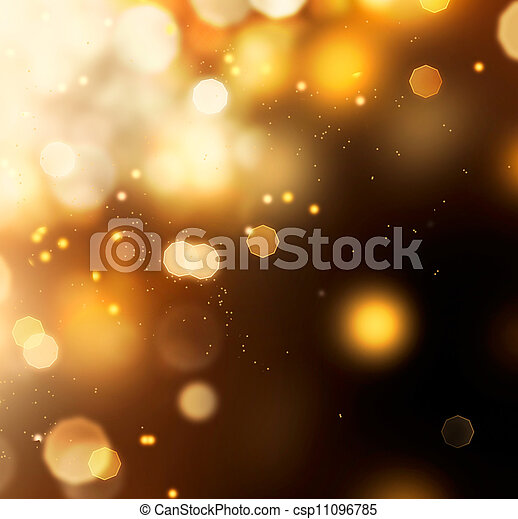 Golden Abstract Bokeh Background. Gold Dust over Black - csp11096785