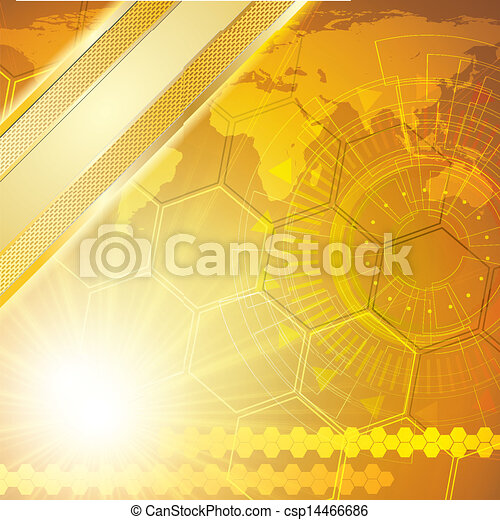 Golden abstract tech background - csp14466686