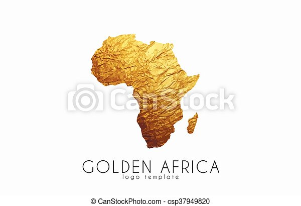 Golden africa logo africa map golden design vector illustration