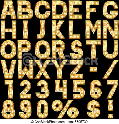 Golden alphabet with show lamps - csp15805730