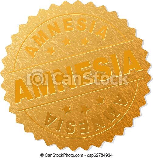 Golden AMNESIA Medallion Stamp - csp62784934