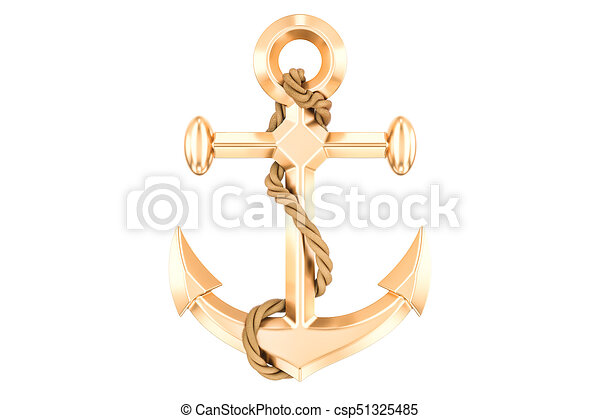 Golden Anchor With Rope 3D Rendering