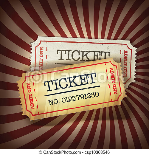 Golden and regular tickets concept illustration. Vector, EPS10 - csp10363546