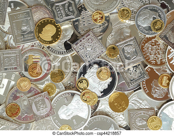 golden and silver coins and medals - csp44218857