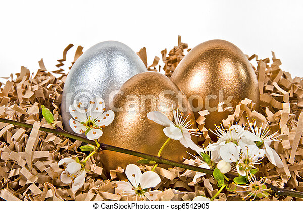 Golden and silver eggs. - csp6542905