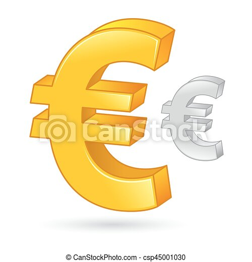 Golden And Silver Euro Currency Money Symbol Vector Stock Of A
