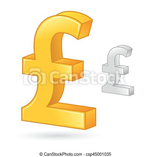 Golden And Silver Pound Sterling Currency Money Symbol Vector Stock