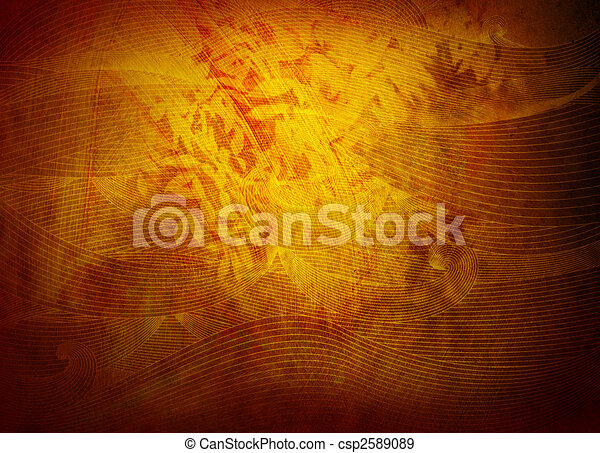 golden background texture or wallpaper with foliage and filigree - csp2589089
