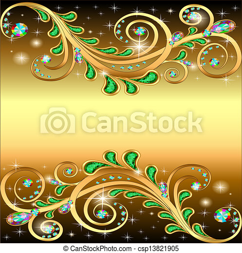 golden background with jewels ornament and stars - csp13821905