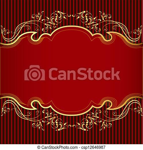 gold(en), bande, fond, ornement, rouges - csp12646987
