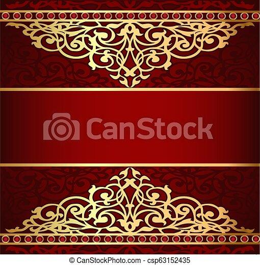 gold(en), bande, fond, ornement, rouges, illustration - csp63152435