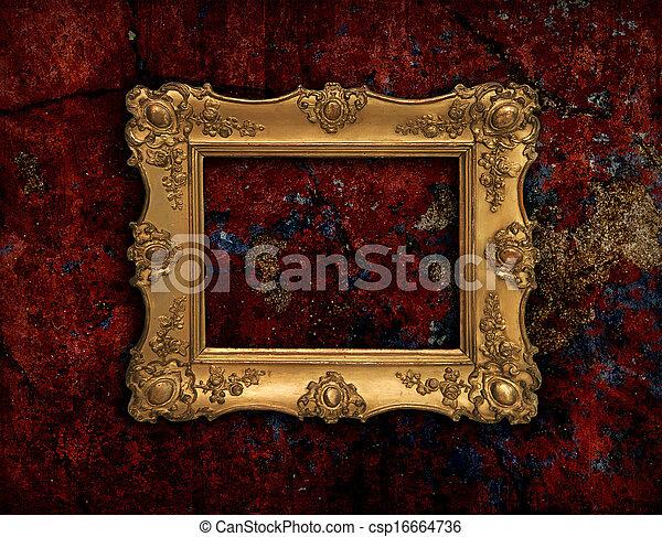 golden baroque frame on a red grunge texture precious golden