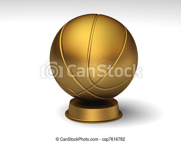 Golden Basketball Trophy Closeup On A