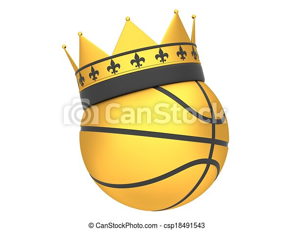 golden basketball with crown isolated on white background