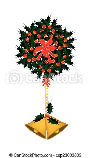 Golden Bell and Christmas Holly with A Bow - csp23003833