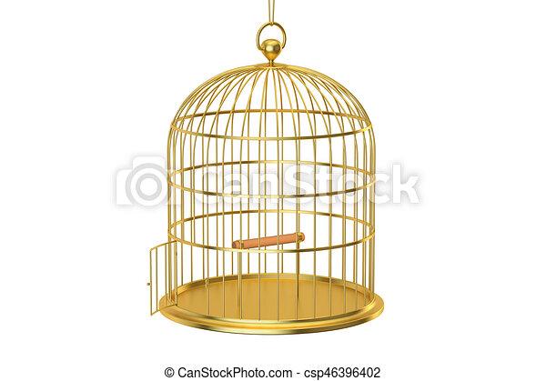 golden bird cage with open door 3d rendering isolated on