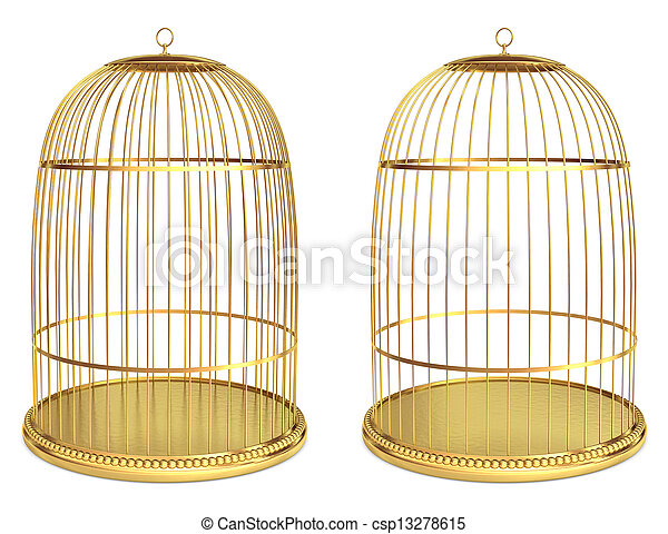 Golden birdcage isolated on white  - csp13278615