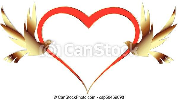 golden birds love heart wedding card invitation wedding card with rh canstockphoto com wedding heart logo wedding heart cookie stamp