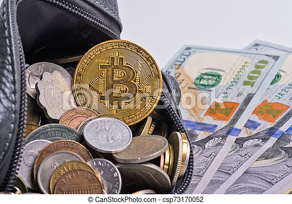 golden bitcoin over money coins in wallet with dollars. close up - csp73170052