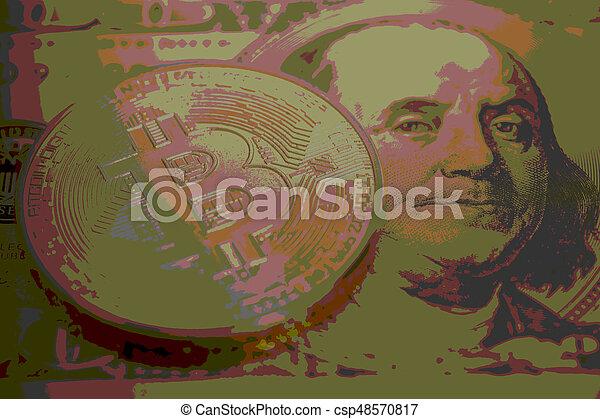 Golden bitcoin with U.S. dollar close up - csp48570817