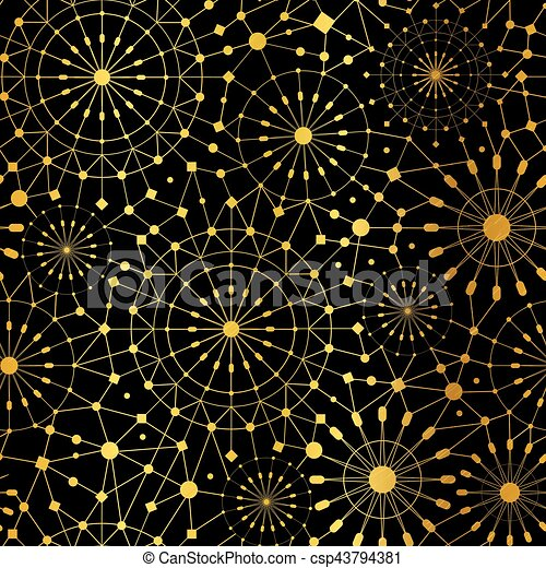 Golden Black Abstract Network Metallic Circles Seamless Pattern Background Great For Elegant Gold Texture Fabric Cards Wedding Invitations