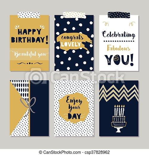 Golden Blue Happy Birthday Card Set Golden And Dark Navy Blue Happy