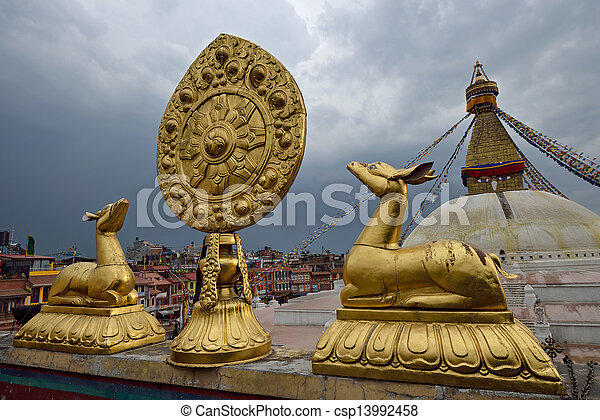 Golden brahma symbol in front of Boudha Nath (Bodhnath) stupa in kathmandu, Nepal  - csp13992458