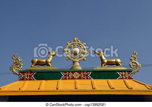 Golden brahma symbol on reef top of buddhis temple around Boudha Nath (Bodhnath) stupa in kathmandu, Nepal  - csp13992581