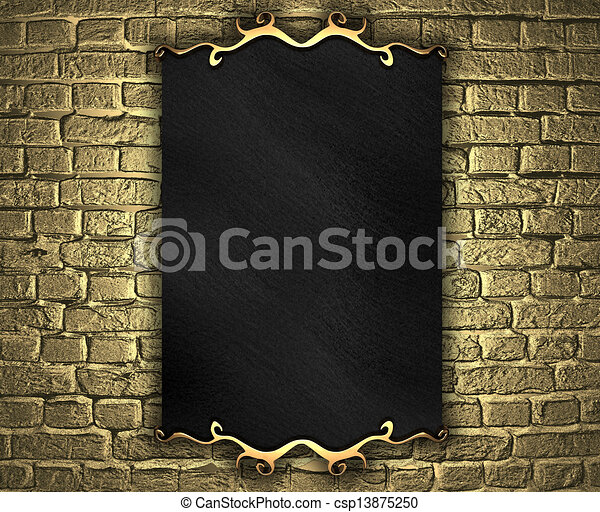 golden brick wall with black nameplate. Design template - csp13875250