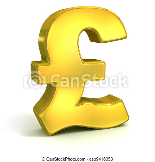 Golden British Pound Symbol Isolated On White Currency 3d Concept