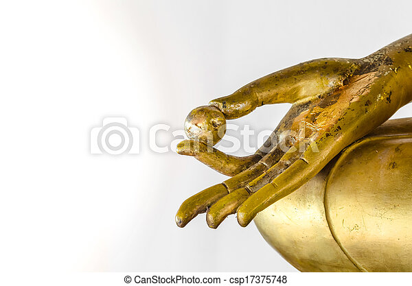 Golden Buddha statue in hand isolated on white background. - csp17375748